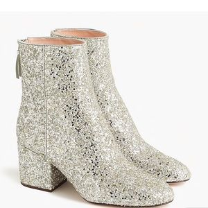 J. Crew Ankle Glitter Boots